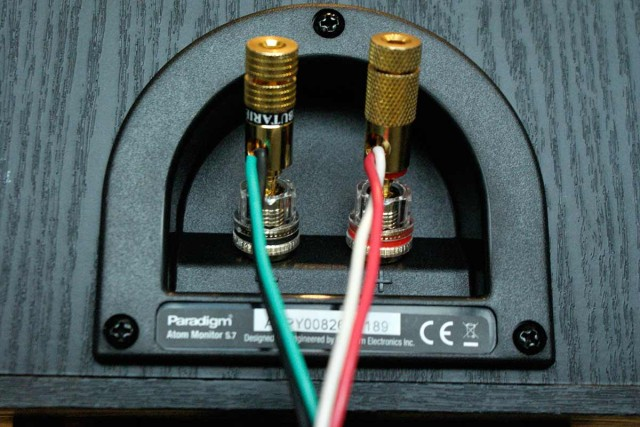 Speaker terminals with audio cable