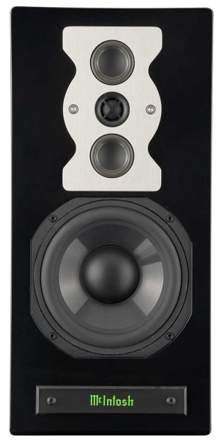 McIntosh XR50 speakers black front view no grille - Stereo Barn